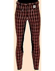 Pantalones de equitación para niña marrón, tonos de cuadros Talla 152Negro Completo ribete