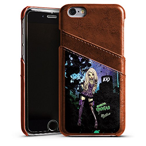 Apple iPhone 5s Housse Étui Protection Coque Art Fille Bande dessinée Étui en cuir marron