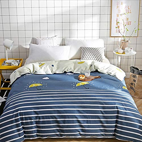 XHHWZB Mikrofaser-Bettbezug-Set - 240 x 220 cm, Super King - Navy Simple Plaid (Farbe : Style E) (Plaid Bettbezug Navy)