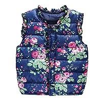 EXIU Baby Girls Keep Warm Flower Vest Coat Kids Autumn Winter Cotton Gilets