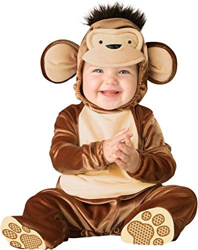 Generique - Affen-Kostüm für Babys aus Samt braun-beige 62/68 (0-6 Monate) (Baby Affen Kostüm 0 6 Monate)