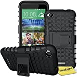 HTC Desire 320 Handy Tasche, FoneExpert® Hülle Abdeckung Cover schutzhülle Tough Strong Rugged Shock Proof Heavy Duty Case für HTC Desire 320 + Displayschutzfolie (Schwarz)