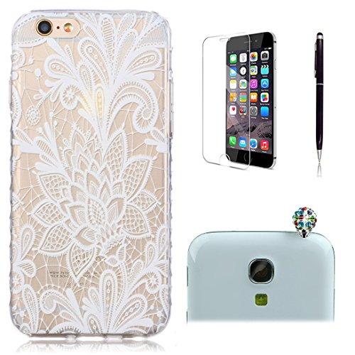 Pheant® [4 in 1] Apple iPhone 6/6S(4.7 pouces) Coque Gel Étui Housse de Protection Transparent Cas avec Verre Trempé Protecteur d'écran Stylet Bouchon Anti-poussière(Papillon) Rose Blanche