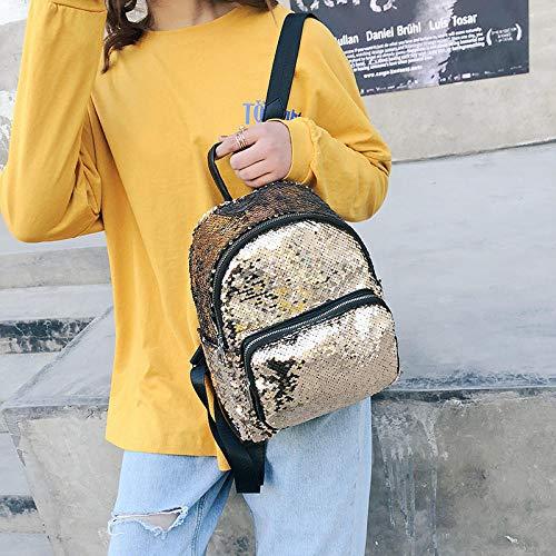 YZJLQML Lady bagsCasual Rucksack Rucksack Wild Student Backpack Bag @Gold
