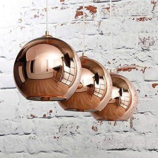 Deckenleuchte 3 er Set Deckenlampe Pendelleuchte ANIKA in Kupfer farbig/Gold Glas