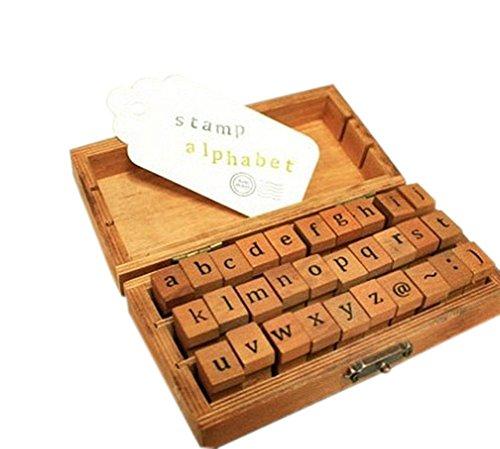 CAOLATOR 30-tlg. Holz Stempel Set Box Holz Stempelset Alphabet Buchstaben Stamp Letters Kleinbuchstaben