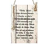 Wand Deko Holzschild mit Spruch im Shabby Chic Vintage Stil (29x20x0,5cm) TRAU DICH - die Geschenkidee