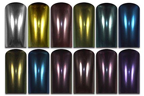 RM Beautynails Poudre ultrafine brillante pour ongles, Effet chrome pigmenté Nombreuses couleurs au choix Nail Art Design