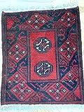 Rugstore-Outlet Handgefertigter afghanischer Aqcha Teppich mit Fransen, Tribal-Design, 100% Wolle, 46 x 55 cm