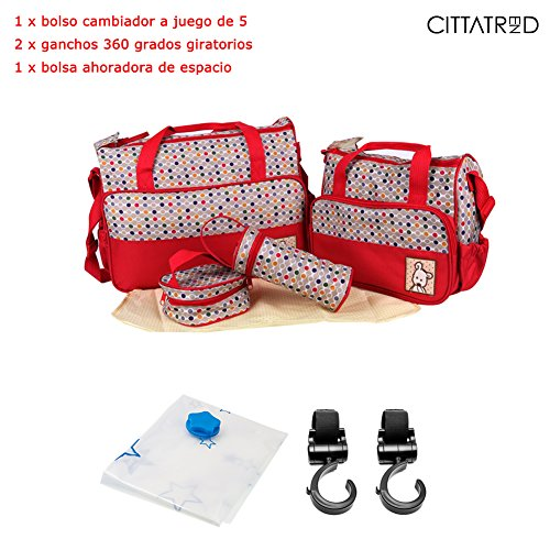 CITTATREND-Bolso Cambiador 17,80 x8,30 x13,90 Pulgada Lote de 8 Todo en Uno Bolsa Maternidad, de Lunar Rojo