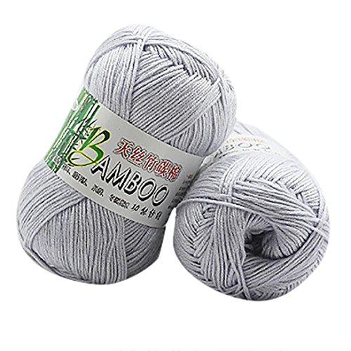 Xshaui 50g Neue 100% Bambus Baumwolle Warme Weiche Natürliche Strick Crochet Strickwaren Wolle Garn für baby (F) (Natürliches Garn)