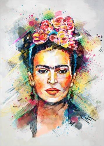 Posterlounge Cuadro Sobre Lienzo 30 x 40 cm: Frida Kahlo de Tracie Andrews - Cuadro Terminado, Cuadro Sobre Bastidor, lámina terminada Sobre Lienzo auténtico, impresión en Lienzo