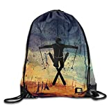 DHNKW Freestyle Skier Drawstring Gym Sport Bag, Large Lightweight Gym Sackpack Backpack for Men and Women