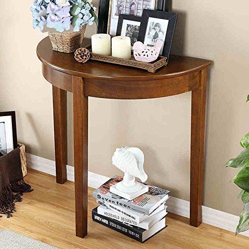 Lqqgxltavolo pieghevole portatile consolle americana in legno massello, semplice consolle semicircolare, divano contro il muro a pochi tavoli, (colore : noce)