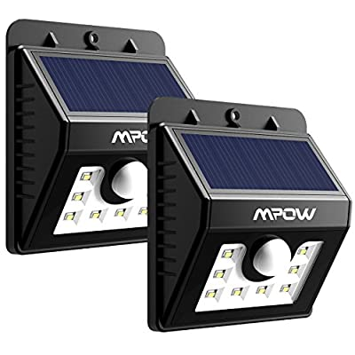 8 LED Solar Motion Sensor Lights, Mpow 3-in-1 Waterproof Solar Energy Powered Security Light Outdoor Bright Light Lamp with 3 Intelligient Modes 8 Bright Nodes for Garden, Outdoor, Fence, Patio, Deck, Yard, Home, Driveway, Stairs, Outside Wall etc