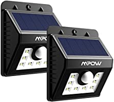 [2 PACK] Mpow Lampe Solaire LED Etanche Faro Lumiere 8 LED avec paneau solaire / Luminaire exterieur Sans Fil avec Détecteur de Mouvement/ Eclairage exterieur Solaire pour Jardin, Patio, Pont, Allée et Garage comme applique exterieur
