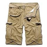 VRTUR Herren Boxing Shorts Boxen Kurze Hose Sport Trainingshose Sporthose(32(Taille:86 cm),Khaki)