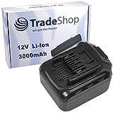 Trade-Shop Premium Li-Ion Akku 12V / 3000mAh / 32Wh für LUX-Tools ABS-12-LI A Akkuschrauber ersetzt ABS12LI Schiebe-Akku