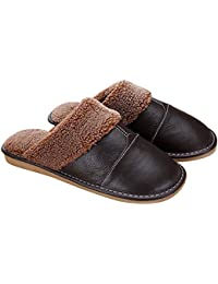 Gosear Zapatillas de Estar por Casa para Hombre Oscuro Marrón