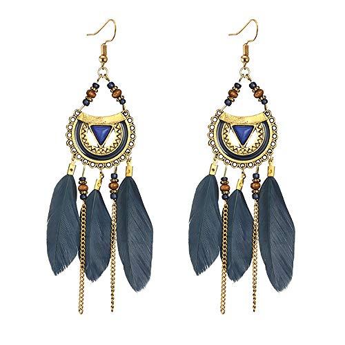 UINGKID Damen Ohrringe Mode Ohrstecker Vintage Frauen quaste ethnischen stil feder lange -