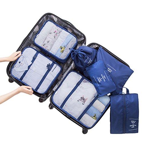 Dexinx Kleidertaschen-Set 7-teilig Reisetasche in Koffer Wäschebeutel Schuhbeutel Kosmetik Aufbewahrungstasche Navy Blau