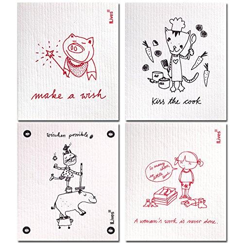 Ninelives Spültuch mit Spruch im 4er-Set I Tücher für Geschirr, Küche, Bad, Haushalt I Beige Topflappen I Schwamm, Putzlappen, Küchentuch I Design Make a Wish