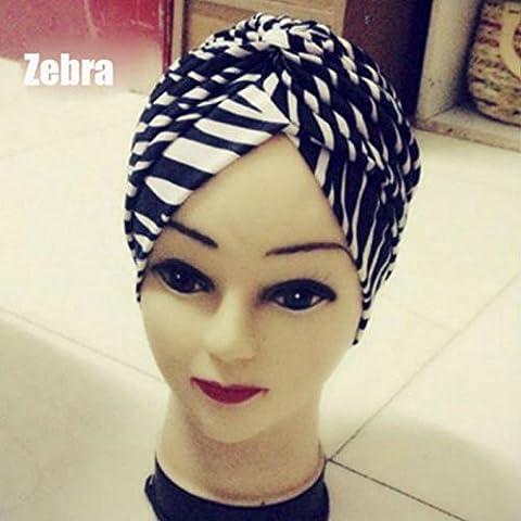 vycloud (TM) unico stile indiano elastico Turbante Chemo Testa Wrap capelli Wrap Cap Cover zebra