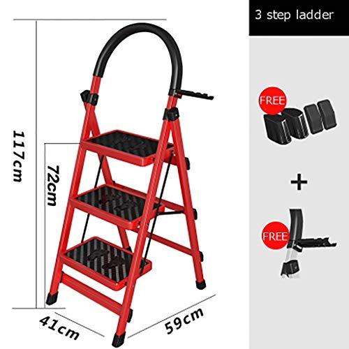Plegable Escalera,multifunción Escaleras De Mano Antideslizante Pesada Deber Escalera Para El Hogar Cocina Oficina Almacén-rojo3 41x59x117cm(16x23x46inch)