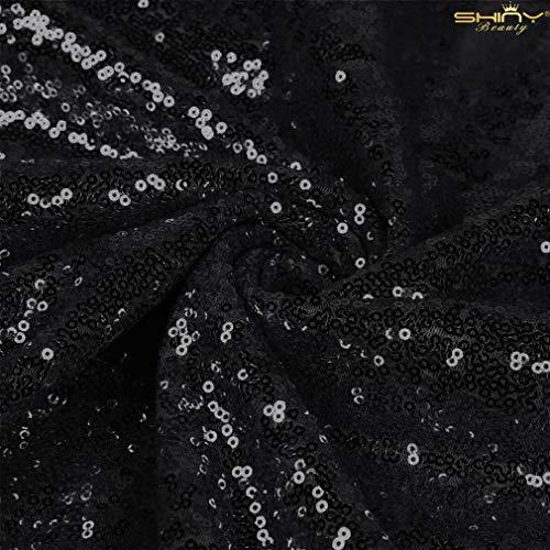 ShinyBeauty Paillettenstoff 2 m schwarz Stretch Paillettenmaterial Stoff Paillettenstoff durch den Hof Glitter Kulisse C0104 (Glitter Hof Stoff Den Durch)