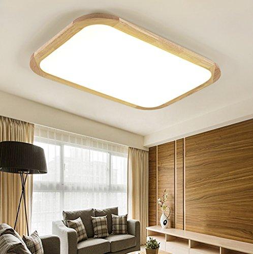 LED de madera maciza rectangular dormitorio techo lámpara ( Tamaño : 97*70cm...