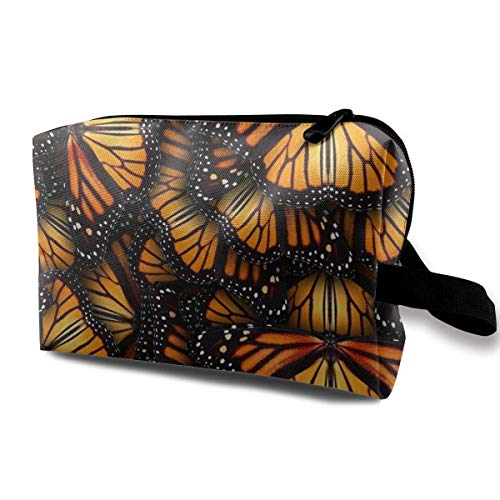 Haufen von Orange Monarch Schmetterlinge Multifunktions Fall Kulturbeutel Reisen Make-up Kosmetiktaschen (Orange Kavu)