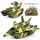 Mureshop 2 in 1 Transformer Tank Aircraft , Convertible Tank & Jet Fighter Airplane Toy with Lights and Shooting Music