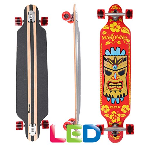 [Maronad.GCP]® Longboard Skateboard drop through Race Cruiser ABEC-11 Skateboard 104x24cm Streetsurfer skaten FUN (Modell Streetsurfer - Hawaii mit LED Leuchtrollen) -