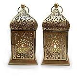 Deko Laterne Metall Gold Teelicht Orientalisch Zum Stellen und Hängen set/2 Gall&Zick