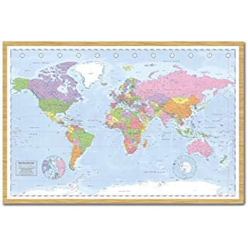 Political world map pinboard cork board with pins framed in white political world map pinboard cork board with pins framed in beech wood includes pins 965 x 66 cms approx 38 x 26 inches gumiabroncs Gallery