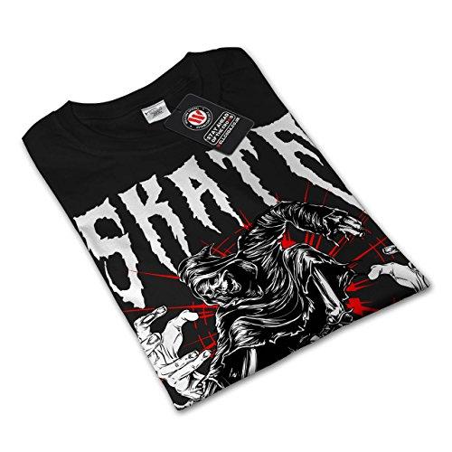 Schlittschuh Grimmig Schnitter Horror Damen S-2XL Langarm-T-Shirt | Wellcoda Black