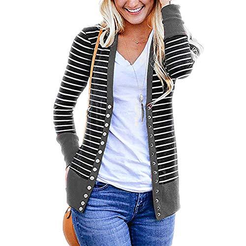 T.Mullen Damen Strickjacke Casual Gestreift Cardigan Outwear Streifen Strickpullover Grau L