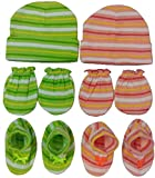 #9: BornBabyKids New Born Baby Cotton Caps Booties Mittens Combo Set (0-6 Month) (Green & Orange)