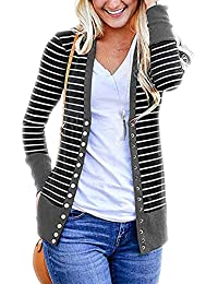 bc877519a14fa5 T.Mullen Damen Strickjacke Casual Gestreift Cardigan Streifen Outwear  7Farben