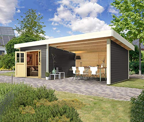 #Karibu Gartenhaus Moosburg I 689 x 360 x 238 cm I Farbe: terragrau#