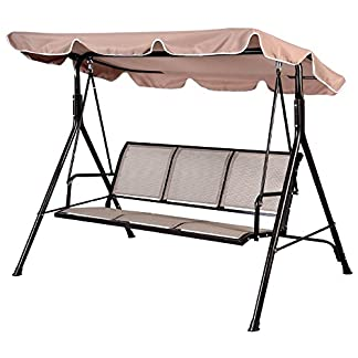 Balancín PROGEN, 3plazas, para el jardín o patio, con toldo, silla columpio, con cojín, de metal