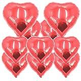 ballonfritz Herz-Luftballon-Set in rot mit 8X 18 und 2X 24 10-TLG. - XXL Folienballon-Set als Hochzeit Deko, Geschenk oder Liebes-Überraschung zum Valentinstag