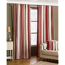 Broadway Frambuesa y crema diseño a rayas con ojales cortinas 66x 90de caída, color, totalmente forrado,, con ojales, listas para colgar, color rojo