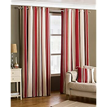 Broadway Raspberry And Cream Striped Eyelet Curtains 90 X 90 Inch Drop,  Fully Lined,