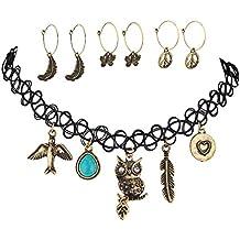 Lux Accessories Girocollo Collana Colomba Uccello Turchese Gufo Foglia Cuore pace farfalla orecchini in coordinato