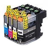Tigtak® - 4 x Stück Druckerpatronen kompatibel für Brother LC123 LC123XL für Brother MFC-J6520DW, DCP-J4110DW, MFC-J4410DW, MFC-J470DW, MFC-J870DW, DCP-J132W, MFC-J4510D Drucker (1 Schwarz, 1 Blau, 1 Rot, 1 Gelb)
