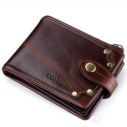 Qiy Mens Trifold Wallet Kuhfell aus echtem Leder mit Nieten Schnalle ID Fenster Kartenetui, Brieftasche für Männer,Coffee -