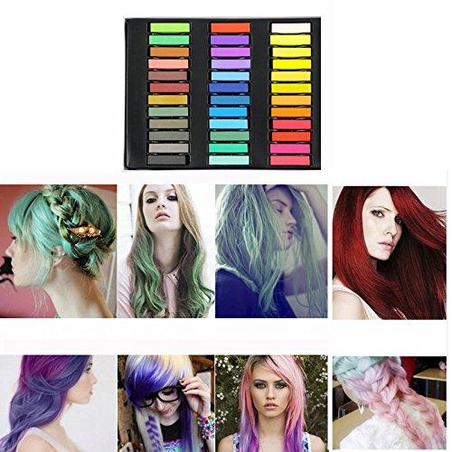 Loreal Temporäre Haarfarbe (MCTECH Haar Kreide Haarfarb Haarkreide 36 Färben Haartönung Farben Hair Chalks Non-Toxic Fashion (36 Farbe-KURZ))