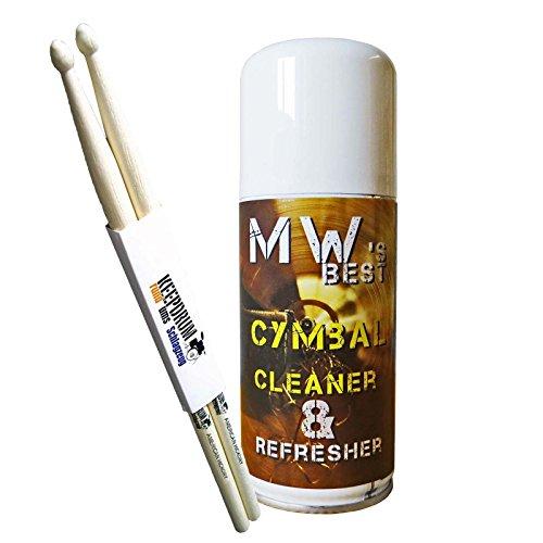 MW Best Cymbal Cleaner Refresher Becken-Reiniger Spray + keepdrum Drumsticks