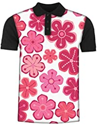 Snoogg Seamless Floral Pattern Flowers Texture Daisy Men's Polo T-Shirt with Collar Stylish Half Sleeve (Cotton,Polyester)